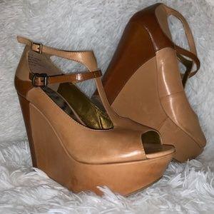 Sam Edelman Peep Toe Platform Leather Wedges 7.5